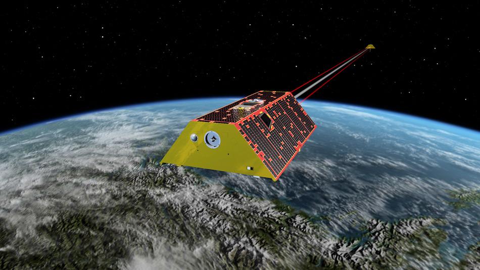 Die Illustration zeigt, wie die beiden Satelliten hintereinander über die polaren Regionen kreisen werden und entsprechend in Verbindung stehen. Bild: NASA/JPL-Caltech